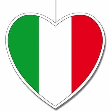 3x thema italie hangdecoratie hart 14 cm
