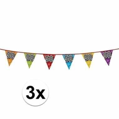 3x vlaggetjes 50 jaar feestje