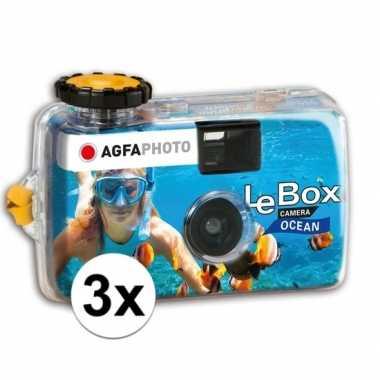 3x wergwerpcameras/fototoestellen waterdicht 27 kleurenfotos