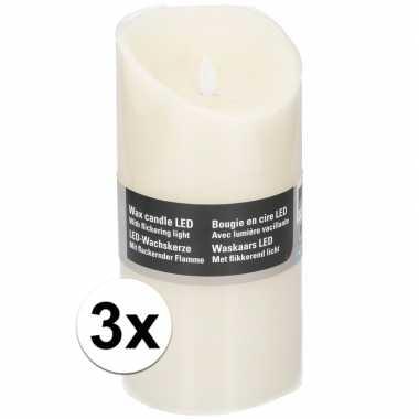 3x witte led kaarsen/stompkaarsen 19,5 cm
