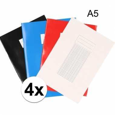 4 stuks a5 schriften met ruitjes 5 mm