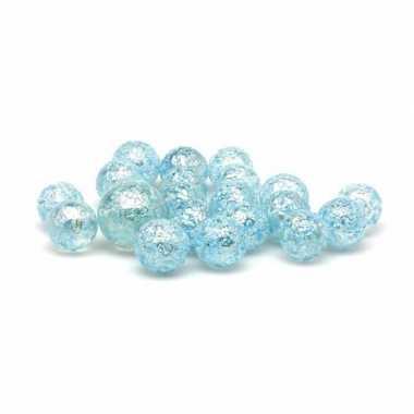 40x knikkers glitter blue princes in netje