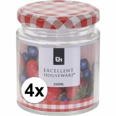 4x bewaar pot 250 ml met draaideksel