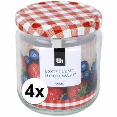 4x bewaar pot 350 ml met draaideksel