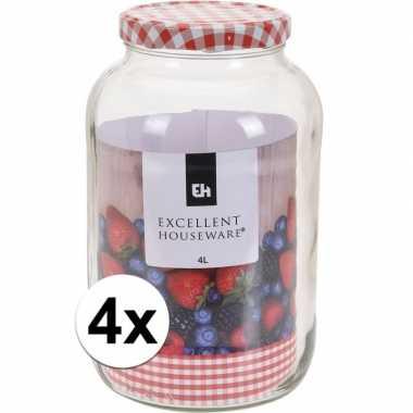 4x bewaar pot 4000 ml met draaideksel