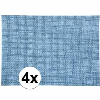 4x blauw gevlochten placemat van kunststof 45 x 30 cm