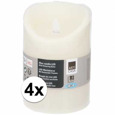 4x creme led kaarsen/stompkaarsen 10 cm