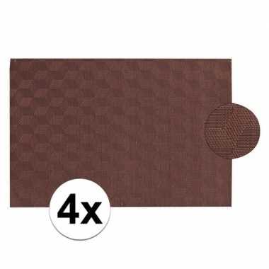 4x donkerbruin gevlochten placemat van kunststof 45 x 30 cm