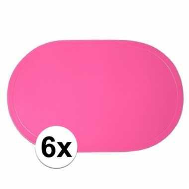 4x fuchsia roze placemats ovaal 10100412