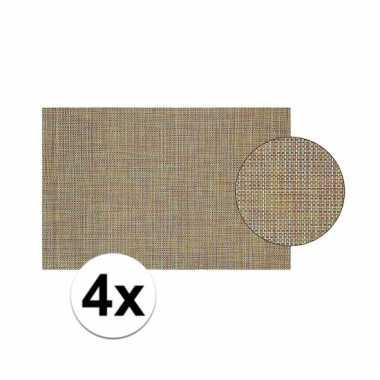4x gevlochten placemat van gekleurd kunststof 45 x 30 cm