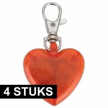 4x led-verlichting hartje aan sleutelhanger