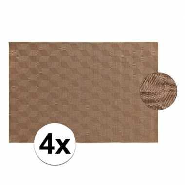 4x lichtbruin gevlochten placemat van kunststof 45 x 30 cm
