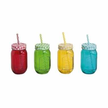 4x mason jar drinkbeker met rietje 10075908