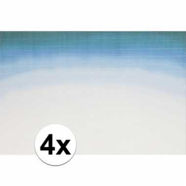 4x placemats blauw wit aquarel 45 x 30 cm