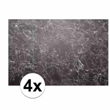 4x rechthoekige placemat marmer 46 x 30 5 cm