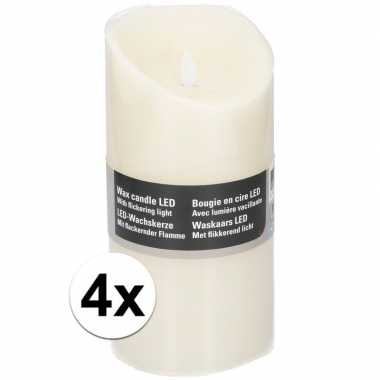 4x witte led kaarsen/stompkaarsen 19,5 cm