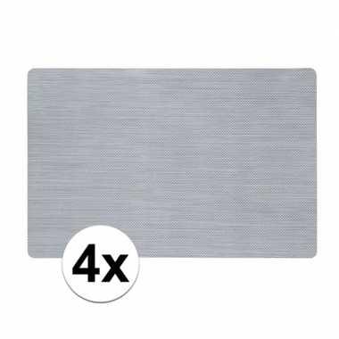 4x zilveren placemat van kunststof 43 x 28 cm