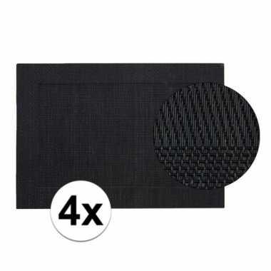 4x zwart gevlochten placemat van kunststof 45 x 30 cm