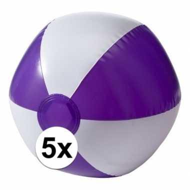 5 opblaas strandballen paars met wit