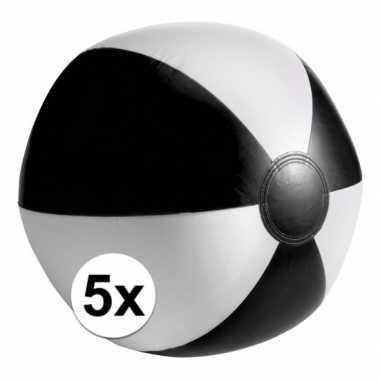 5 opblaas strandballen zwart met wit