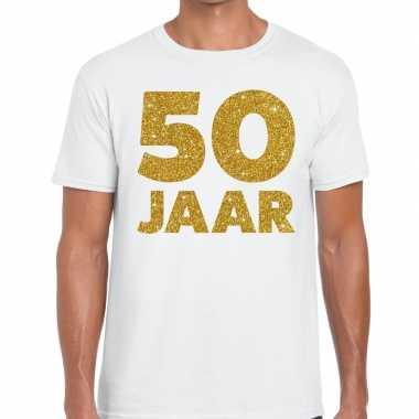 50 jaar glitter verjaardag t-shirt wit heren