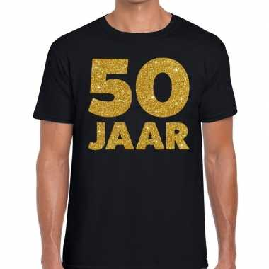 50 jaar glitter verjaardag t-shirt zwart heren