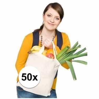 50 tassen 100% katoen korte hengsels