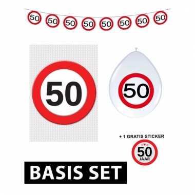 50ste verjaardag versiering pakket verkeersbord basic
