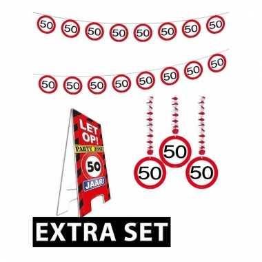 50ste verjaardag versiering pakket verkeersbord extra
