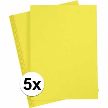 5x geel knutsel karton a4