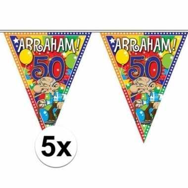 5x plastic abraham 50 jaar vlaggenlijnen