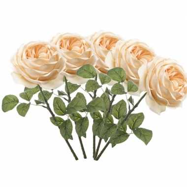 5x rozen kunstbloem perzik 66 cm