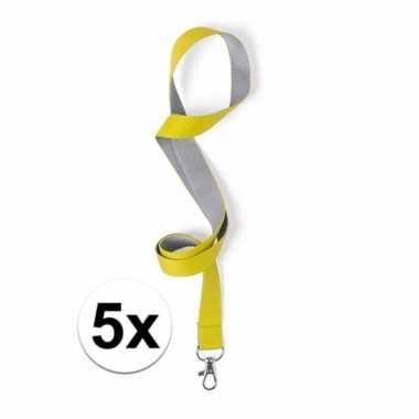 5x sleutelkoord geel met grijs 50x2 cm