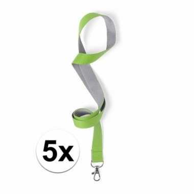 5x sleutelkoord groen met grijs 50x2 cm