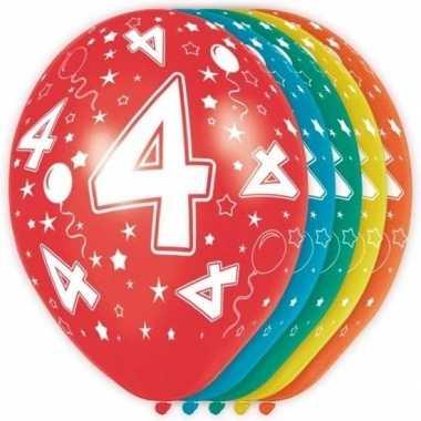 5x verjaardag 4 jaar heliumballonnen 30 cm