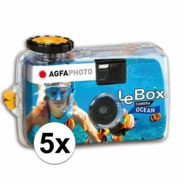 5x wergwerpcameras/fototoestellen waterdicht 27 kleurenfotos