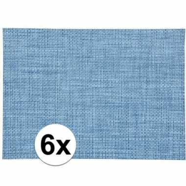 6x blauw gevlochten placemat van kunststof 45 x 30 cm