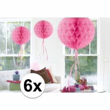 6x decoratiebollen licht roze 30 cm