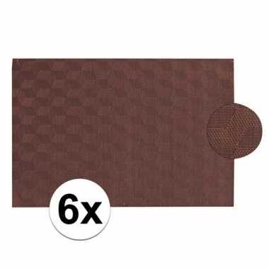 6x donkerbruin gevlochten placemat van kunststof 45 x 30 cm