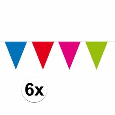 6x gekleurde vlaggenlijn xxl 10 meter