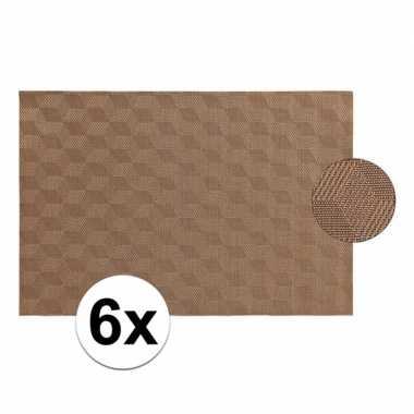 6x lichtbruin gevlochten placemat van kunststof 45 x 30 cm