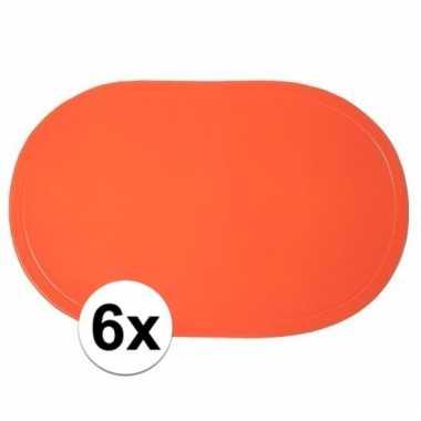6x oranje placemats ovaal