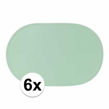 6x pastel groene placemats ovaal