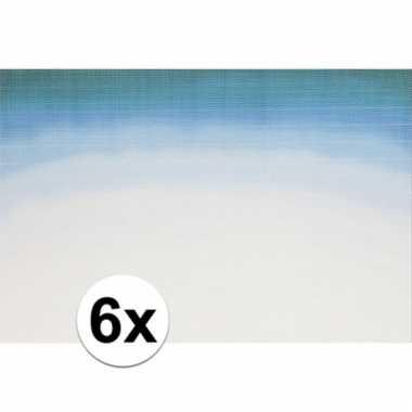 6x placemats blauw wit aquarel 45 x 30 cm
