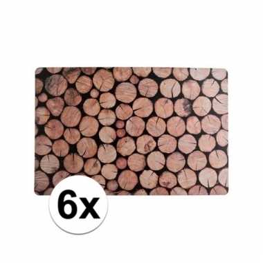 6x placemats met houtprint 43 x 28 cm