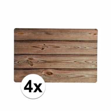6x rechthoekige placemat hout design 43 5cm x 28 5cm x 0 3cm