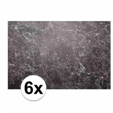 6x rechthoekige placemat marmer 46 x 30 5 cm