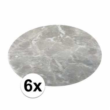 6x ronde tafel onderlegger marmerlook grijs 38 cm