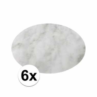 6x ronde tafel onderlegger marmerlook wit 38 cm