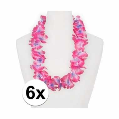 6x roze/paars feest hawaii kransens